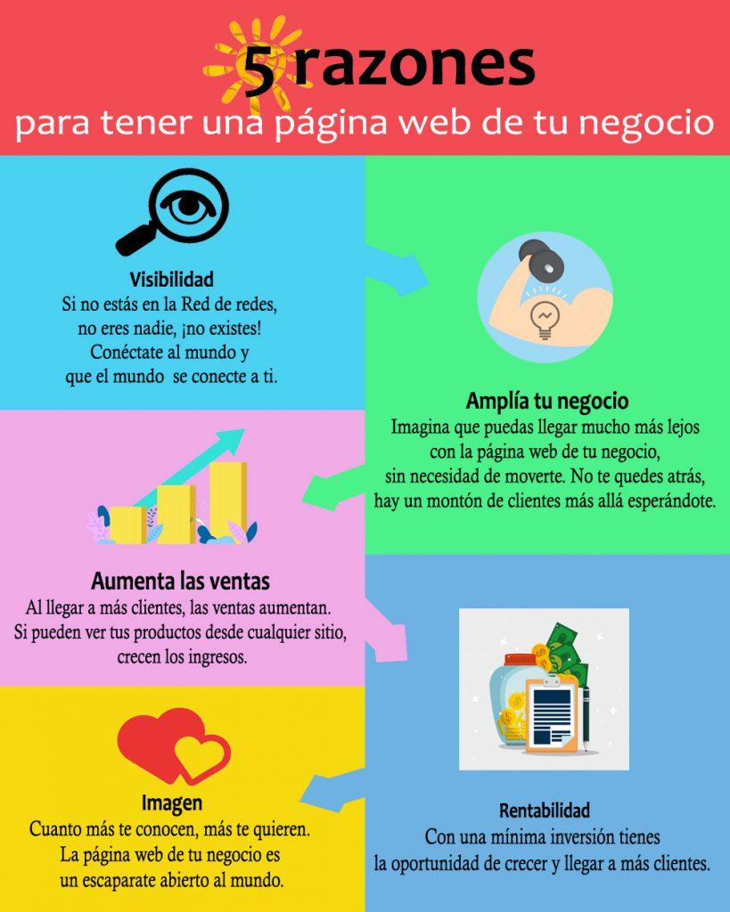 infografia 5 razones pagina web negocio